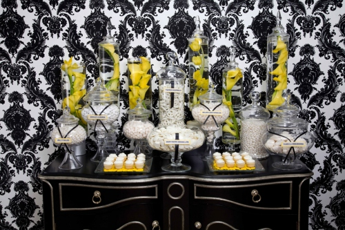 decoracao amarelo branco e preto:Yellow Black and White Candy Bar