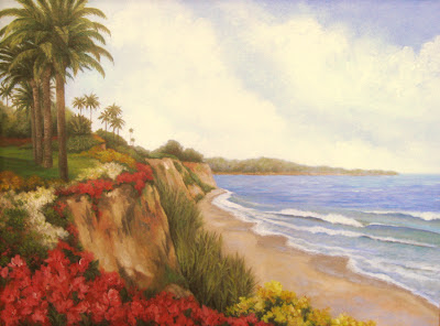 ocean painting beach flowers palm trees