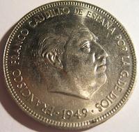 5 Pesetas 1949*50 Estado Español Duro1