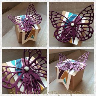 Mini-Geschenkschachtel, Boheme, Schmetterling, dreifach einstellbare Fähnchenstanze