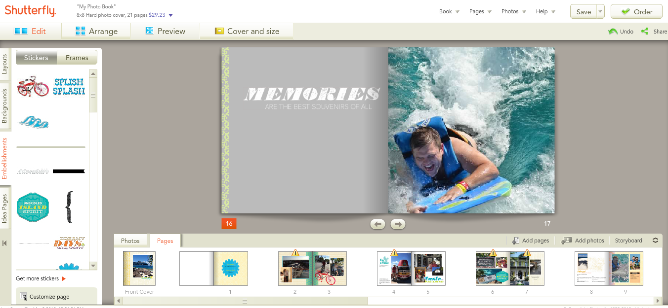 Automatic Layout In Shutterfly