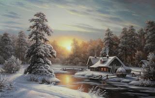 Cuadros Paisajes Nieve Al OLeo