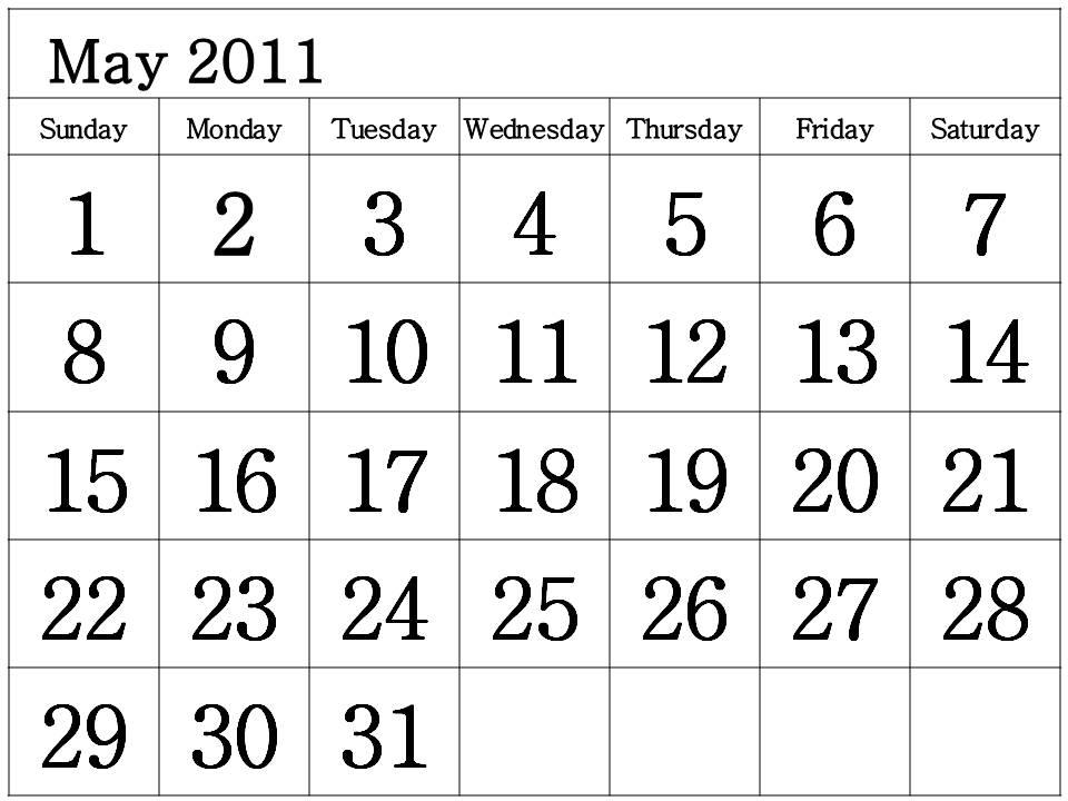 may 2011 calendar printable free. Free Printable Calendar 2011