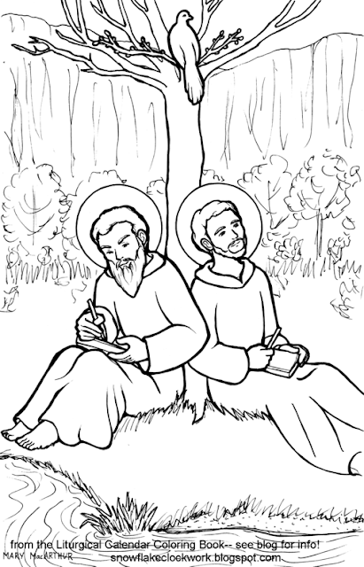 snowflake clockwork  saints basil the great and gregory nazianzen coloring page