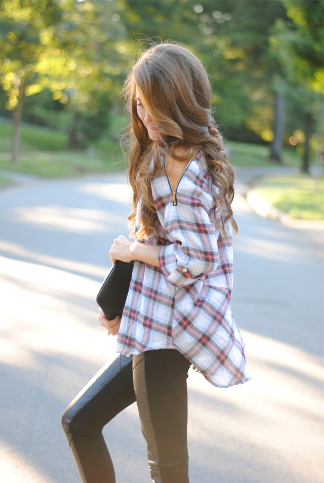 Plaid shirt outfit idea