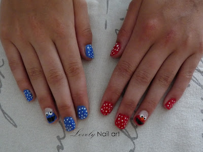 Lovely Nail Art Cookie Monster And Elmo