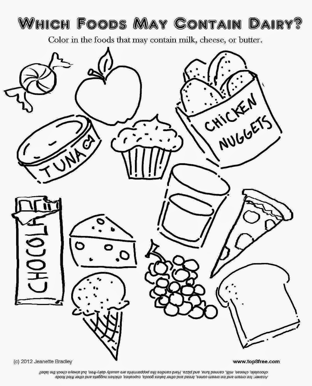 Dairy allergy coloring page top eight free your food allergy
