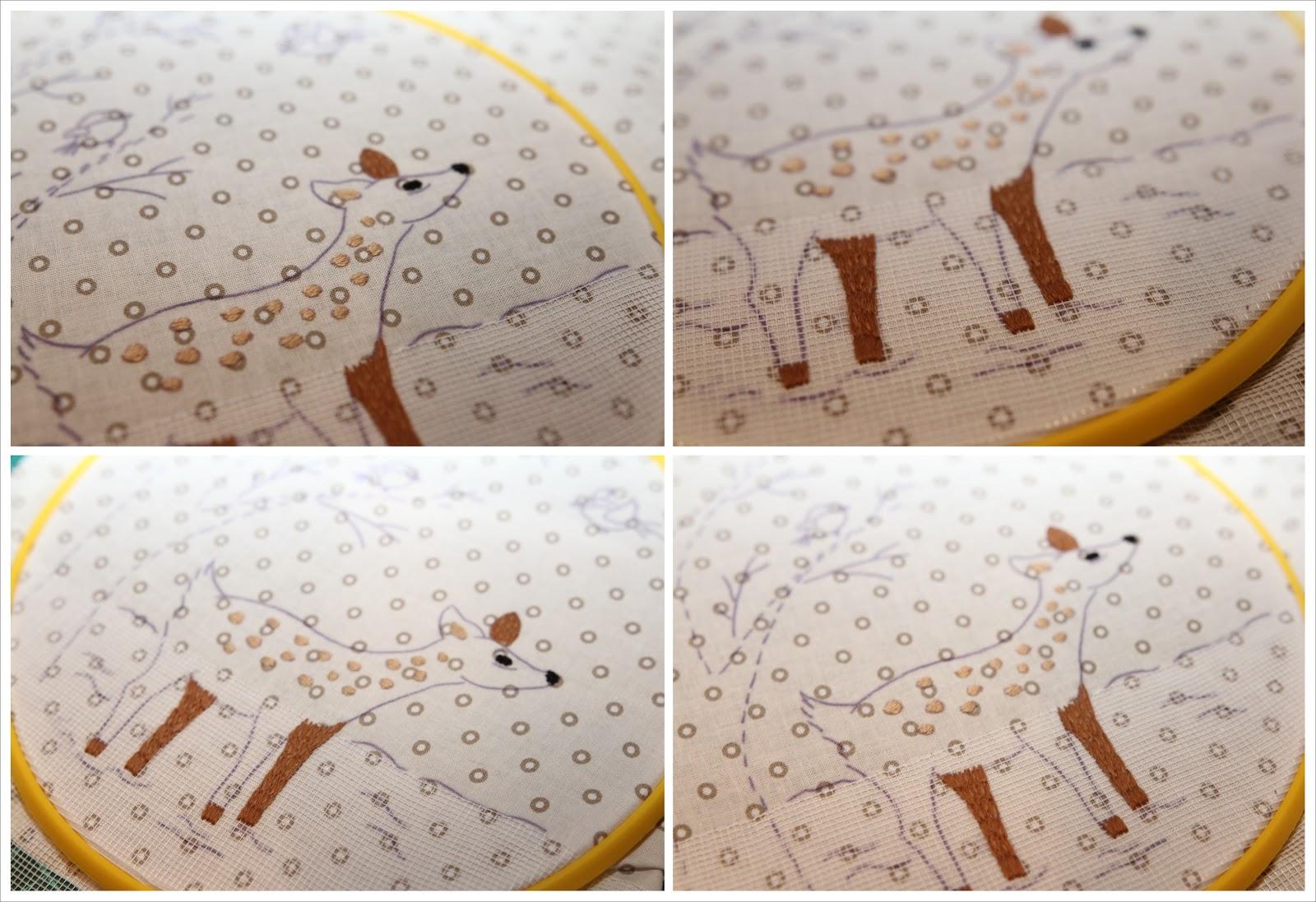 вышивка олененка