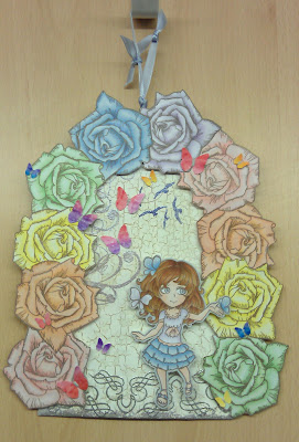 Visible Image spring challenge girl character Butterfly Rose stamp