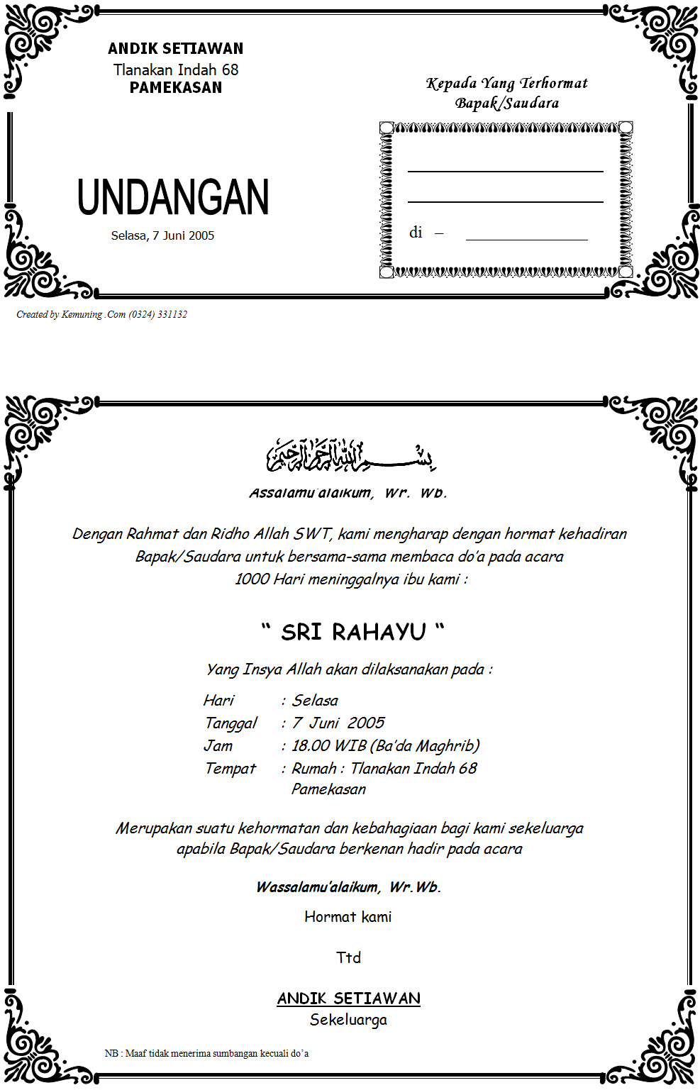 987 x 1537 · 297 kB · jpeg, Download Contoh Undangan Tahlilan 1000