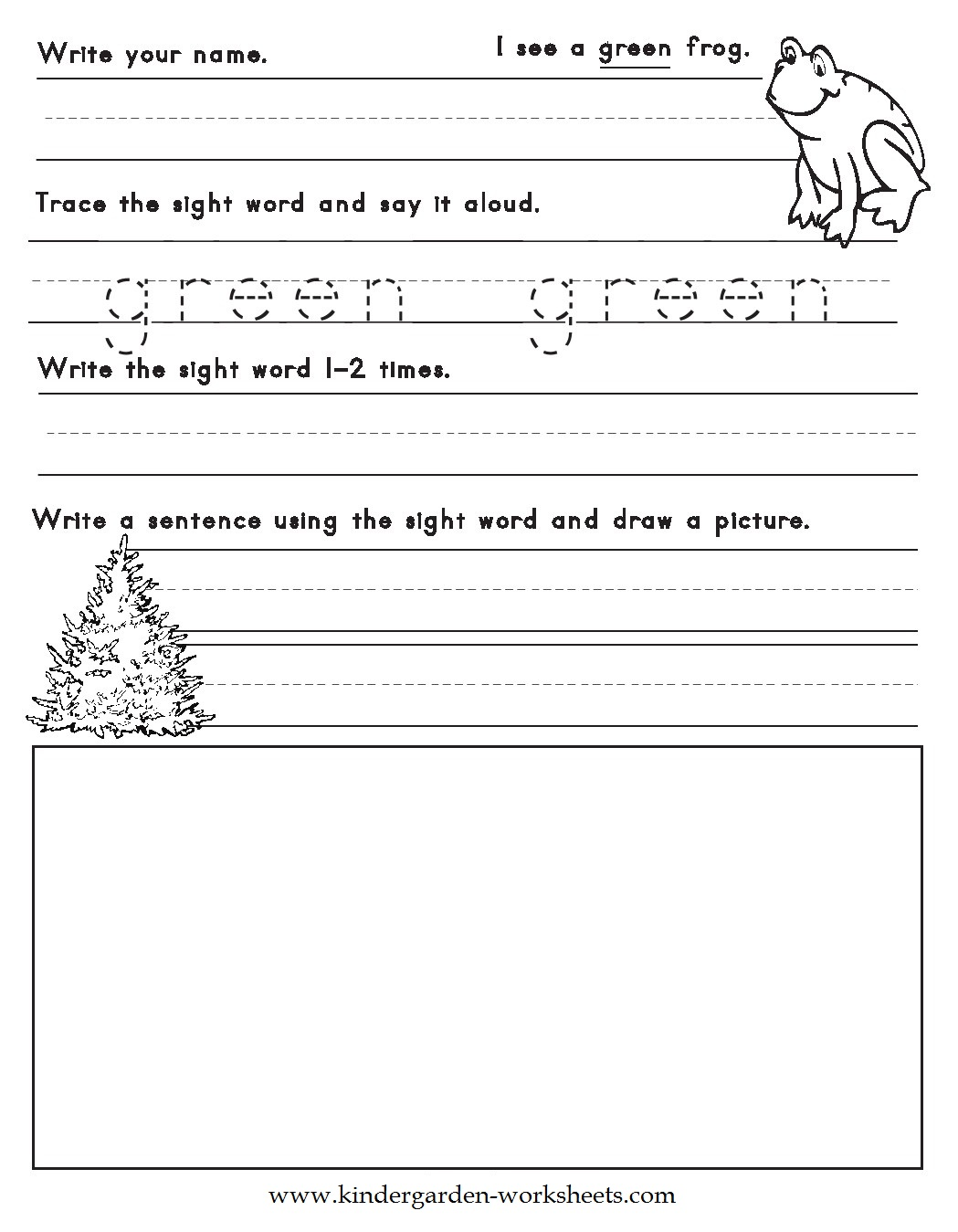 kindergarten worksheets color words worksheets green