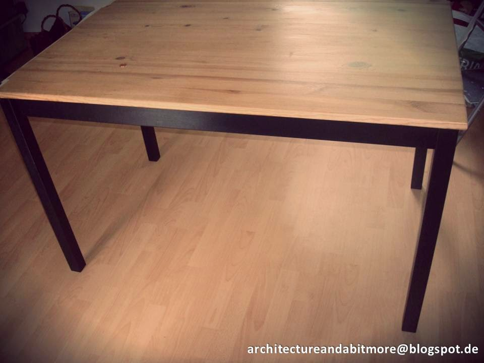 Industrial dining table from a simple ikea table ikea for Ikea dining table ideas