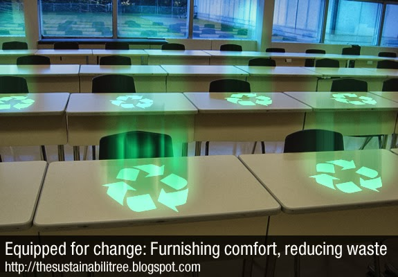 A row of recycled desks with glowing recycling symbols