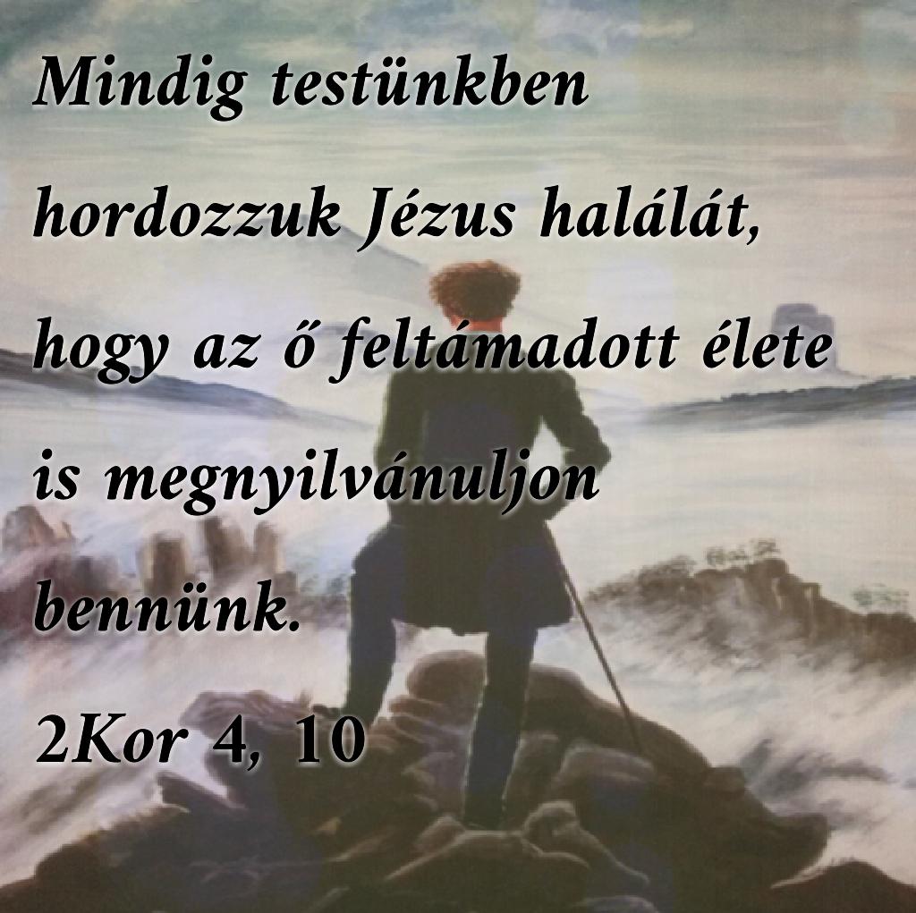 """""""Mindig testünkben hordozzuk Jézus halálát, hogy az ő feltámadott élete is megnyilvánuljon bennünk."""" (2 Kor. 4.10)"""