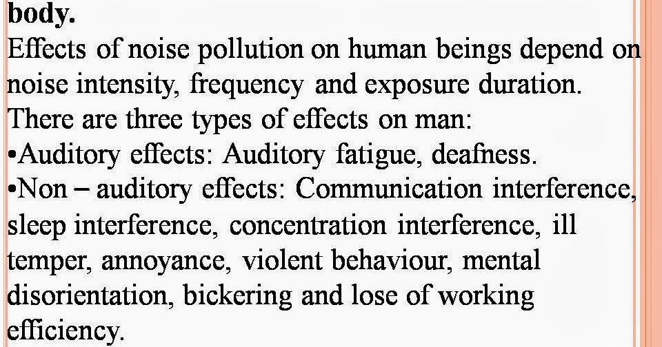 Causes and Effects Essay the Effects of Noise Pollution
