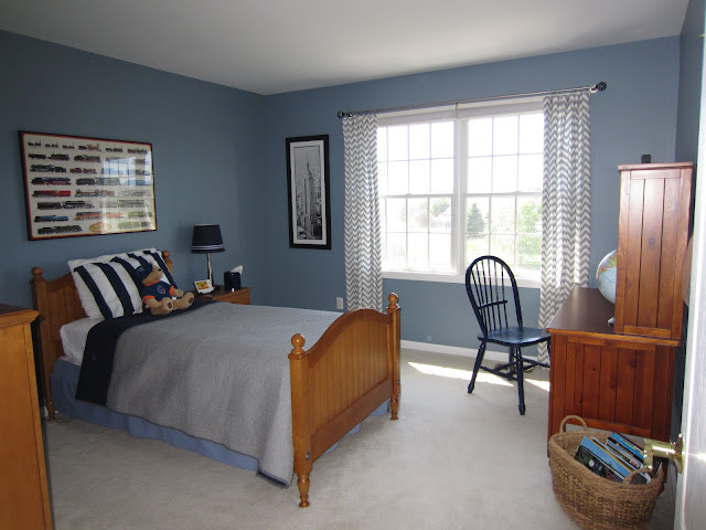Calypso in the country my son 39 s room before and after for Boys room blue paint