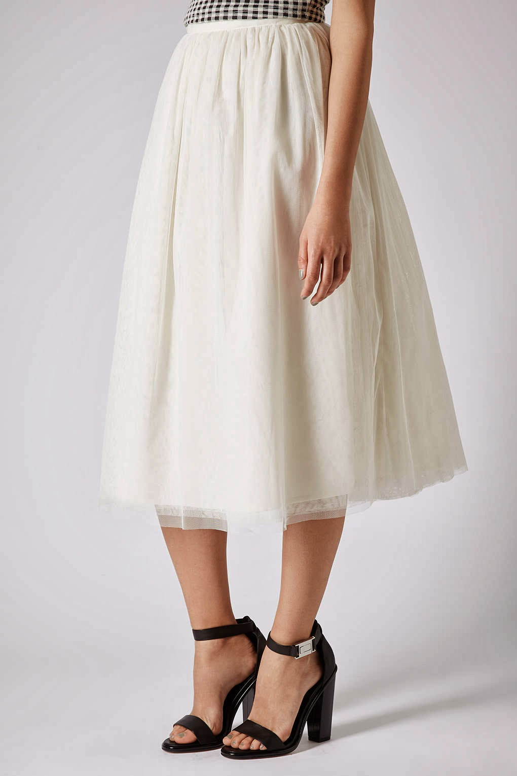 white midi tulle skirt