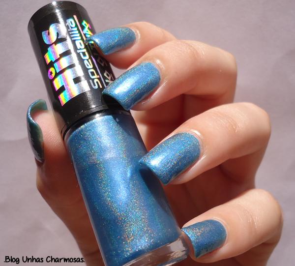 esmalte holográfico azul, esmalte, esmalte holográfico, esmalte Poseidon da hits, hits, esmalte holográfico hits, coleção Hits no Olimpo, unha bonita, esmalte azul, unhas charmosas, blog unhas charmosas, unhas lindas, esmalte bonito