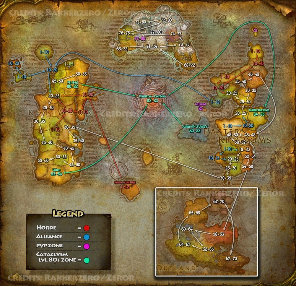 Master of World of Warcraft  Cata Leveling Flow Map