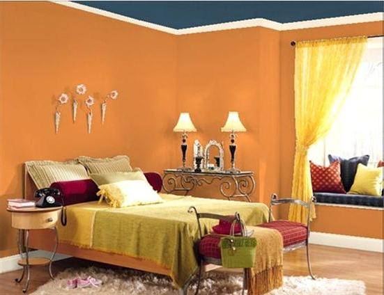Chambre des id es peinture orange design interieur france for Best type of paint for bedroom