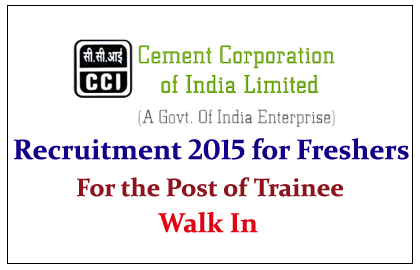 Cement Corporation of India Limited Recruiting Freshers for the post of Trainee