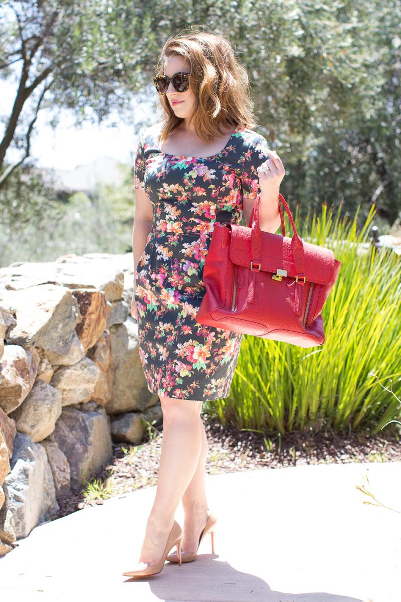 piol custom floral dress, karen walker sunglasses