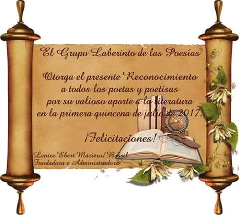 """RECONOCIMIENTO DEL FORO """"LABERINTO DE POESIA"""""""