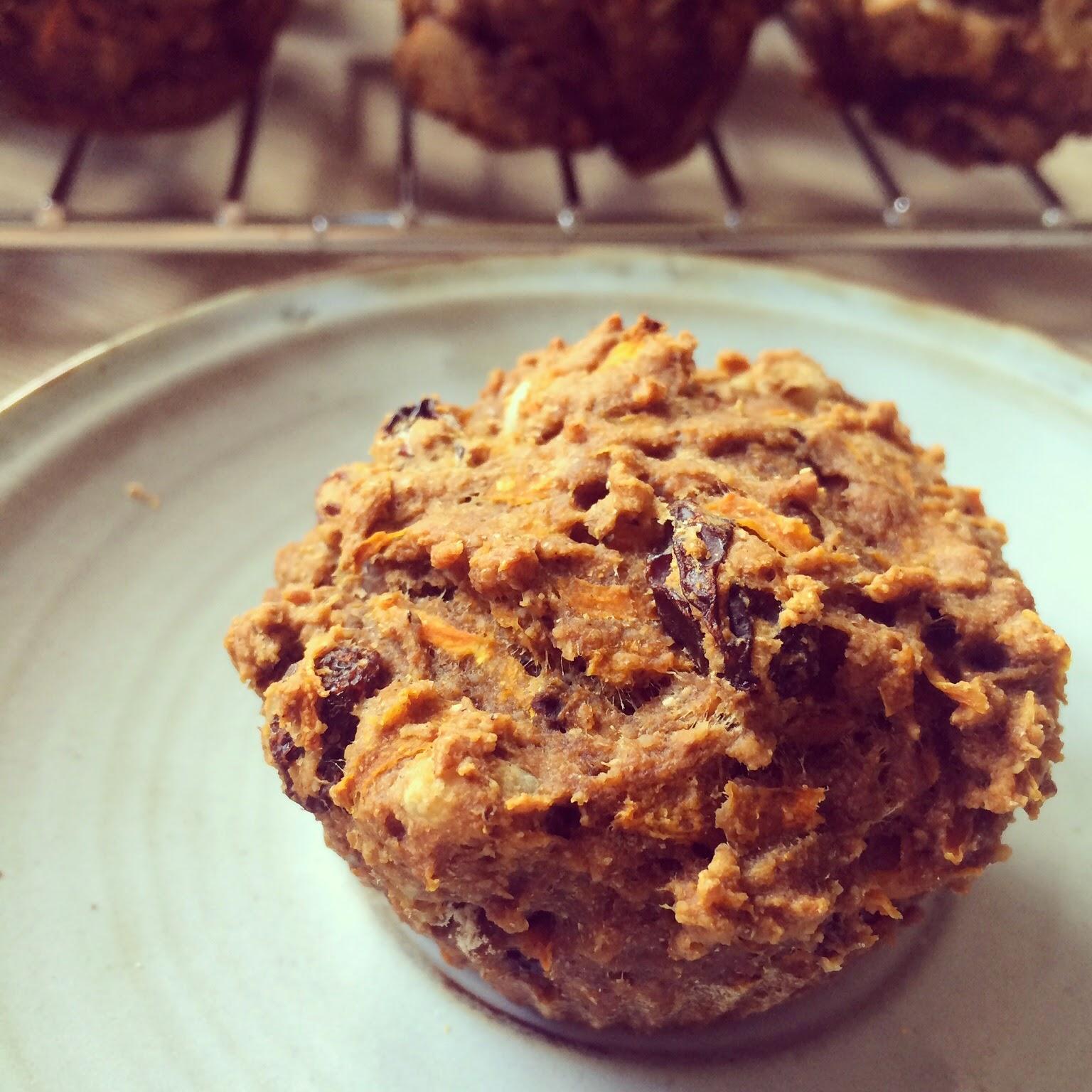 muffins carotte okara noix raisins secs