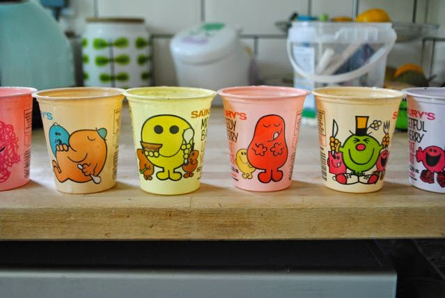 A collection of 1980s Sainsbury's Mr Men yoghurt pots