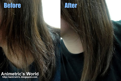 Before and after using L'oreal Professionnel X-tenso Straight Care