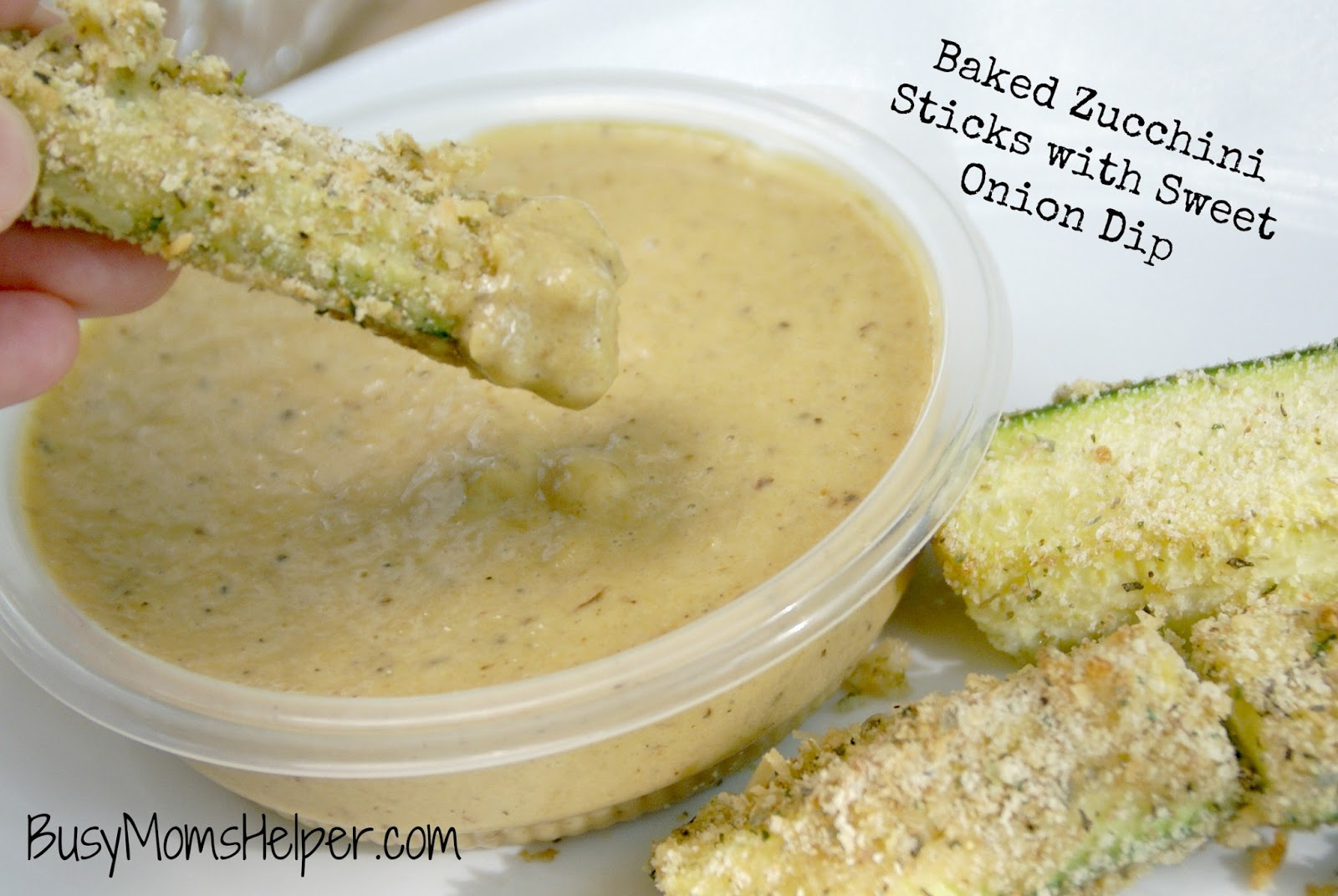 ... about 3 dozen zucchini sticks and 1 1/2 cups of the sweet onion dip
