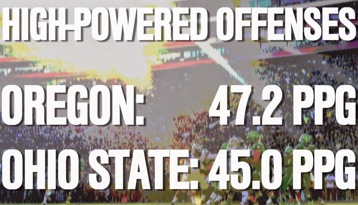 Offense statistic of Oregon vs. Ohio State