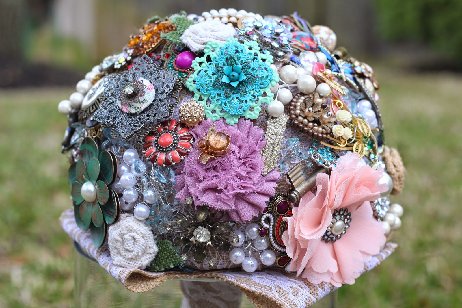 DomesticabilityRustic Brooch Bouquet Made of Lace, burlap, family heirloom jewelry and silk floral