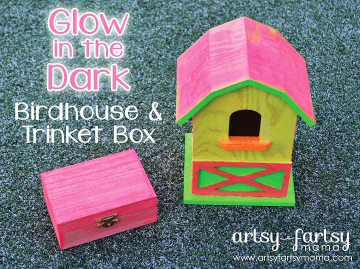 Glow in the Dark Birdhouse & Trinket Box #PlaidSummerKids