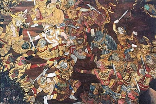 Lakshmana's fight with Indrajit, Eighteenth century A.D., Mattancheri Palace, Cochin.
