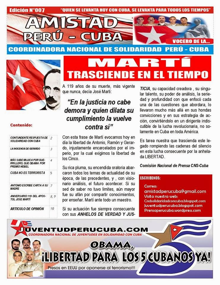 "BOLETÍN N°007 ""AMISTAD PERÚ CUBA"""