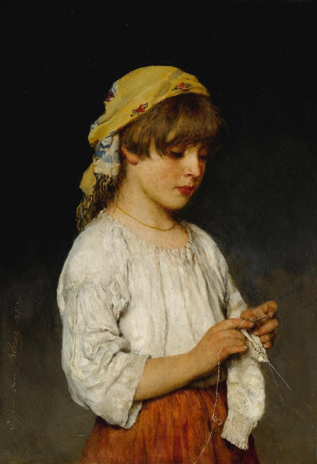 Eugene de  laas Knitting Girl with Headscarf