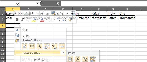 Cara Mudah Merubah Baris Menjadi Kolom atau Kolom Menjadi Baris Pada Excel