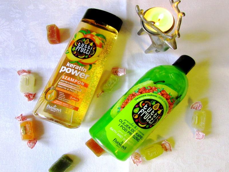 Farmona, Tutti Frutti. Olejek pod prysznic i szampon Keratin power.
