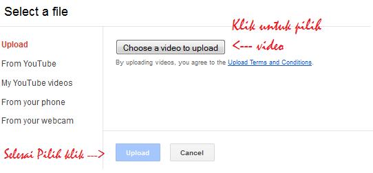 Tutorial upload video