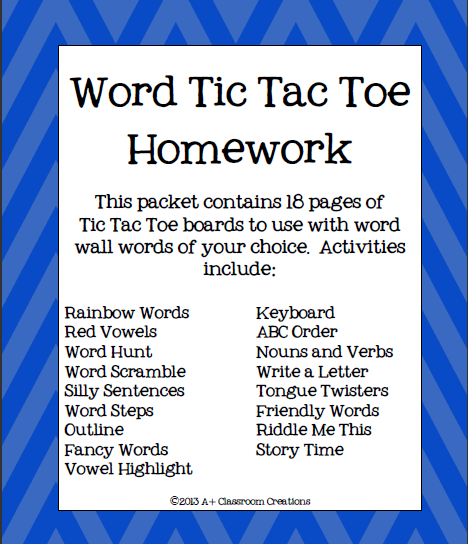 https://www.teacherspayteachers.com/Product/Word-Tic-Tac-Toe-Homework-714992