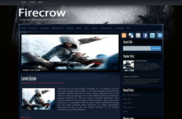 Dark Abstract Blue Games Blogger Theme Template