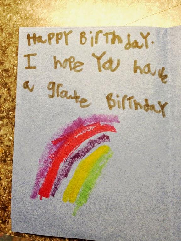 Inside:  Finley's birthday message.  Love it !