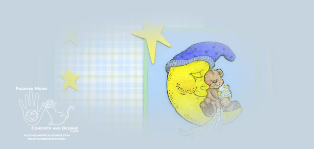 Picture of front image of my handmade sleeping teddy bear baby card