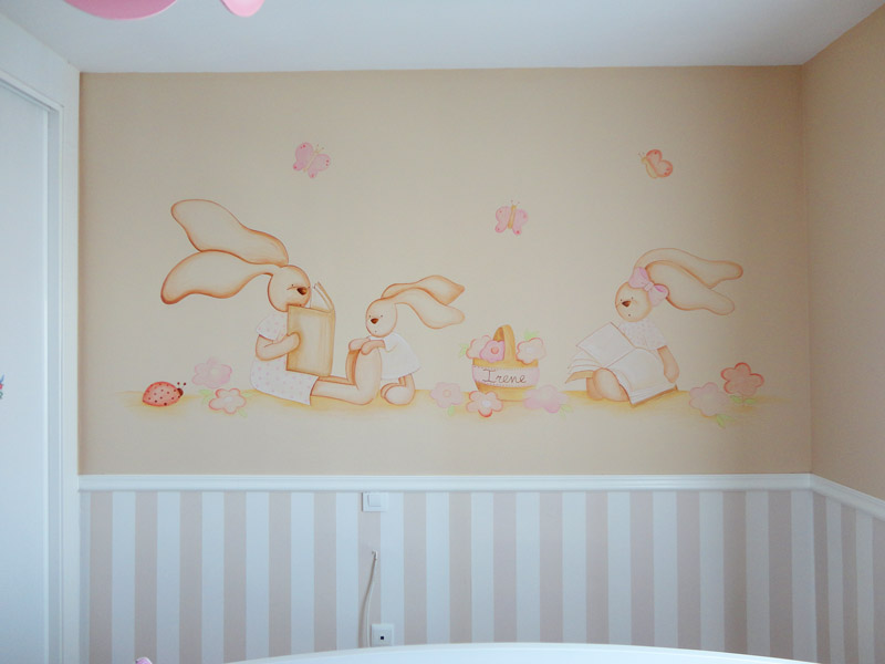 Decopared mural pintado de conejitas leyendo - Murales de pared pintados ...