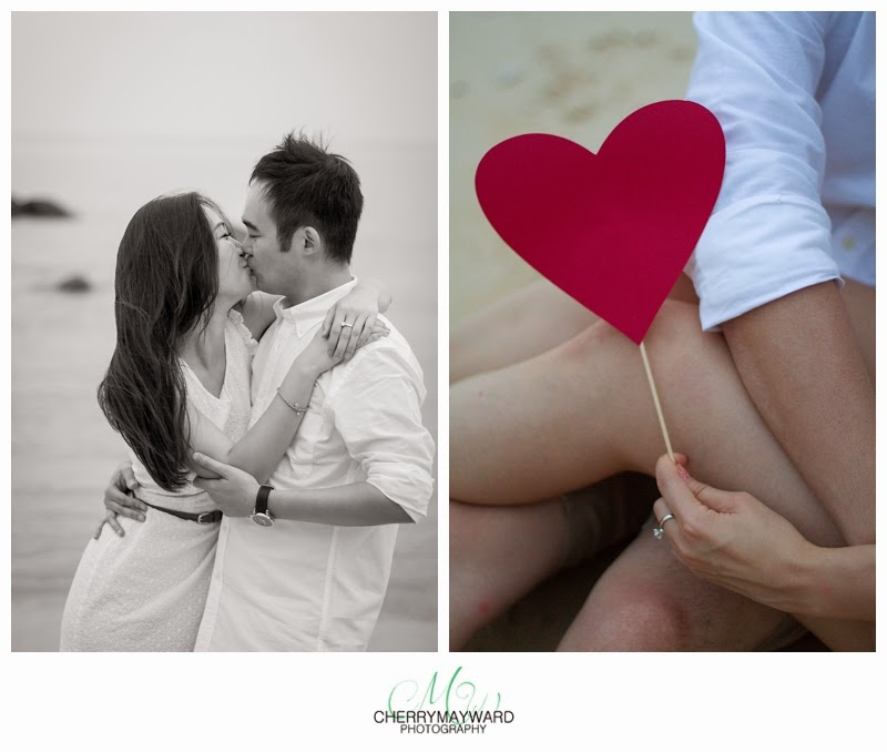 beautiful koh samui engagement with props, heart, red heart, kiss on the beach, villa serendipity