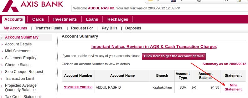 axis bank loan account statement icici bank loan