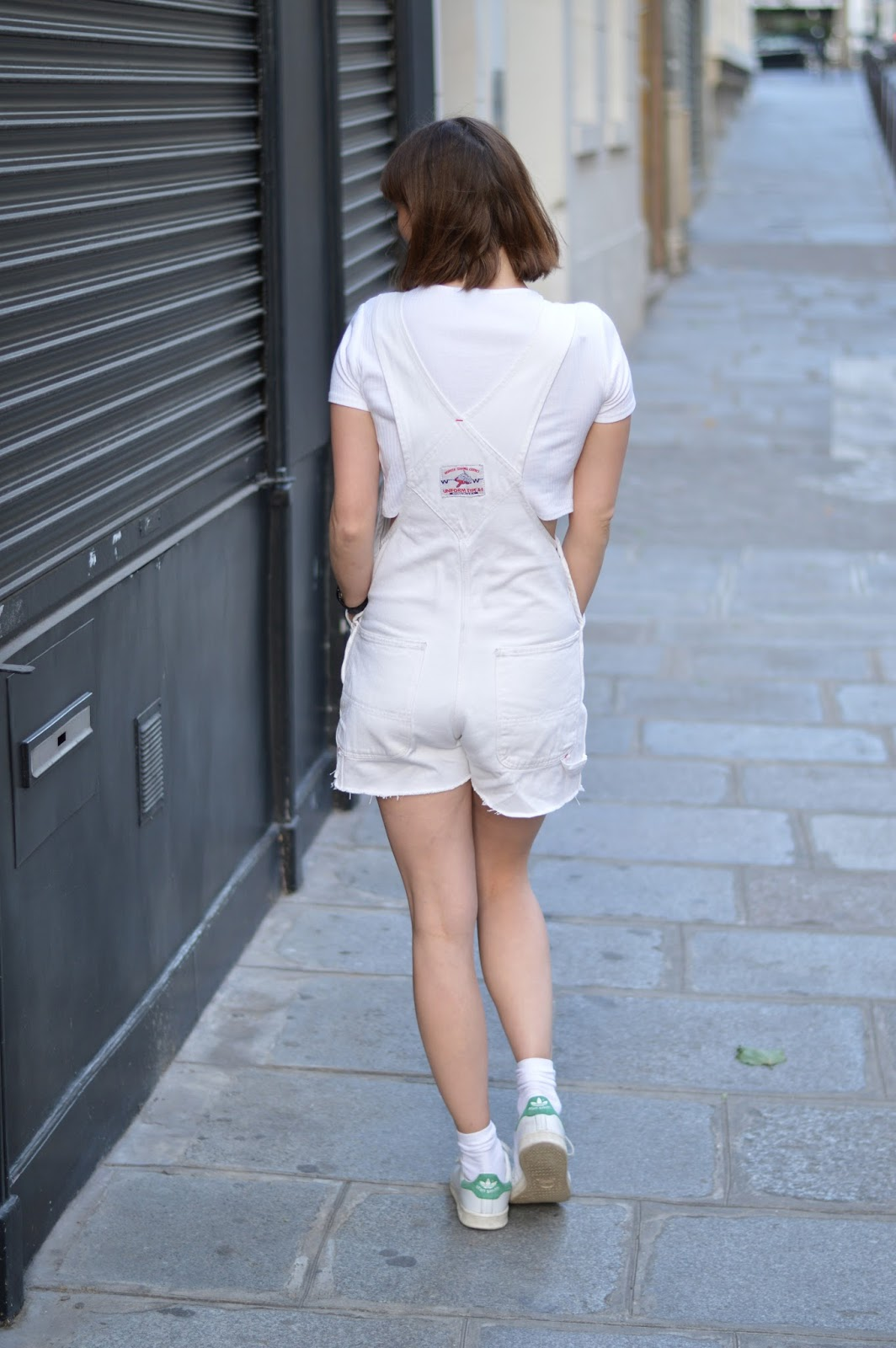 White vintage dungarees, Topshop white crop top and Adidas Stan Smiths all white outfit