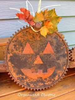 Repurposed Gear Jack o'Lantern www.organizedclutterqueen.blogspot.com