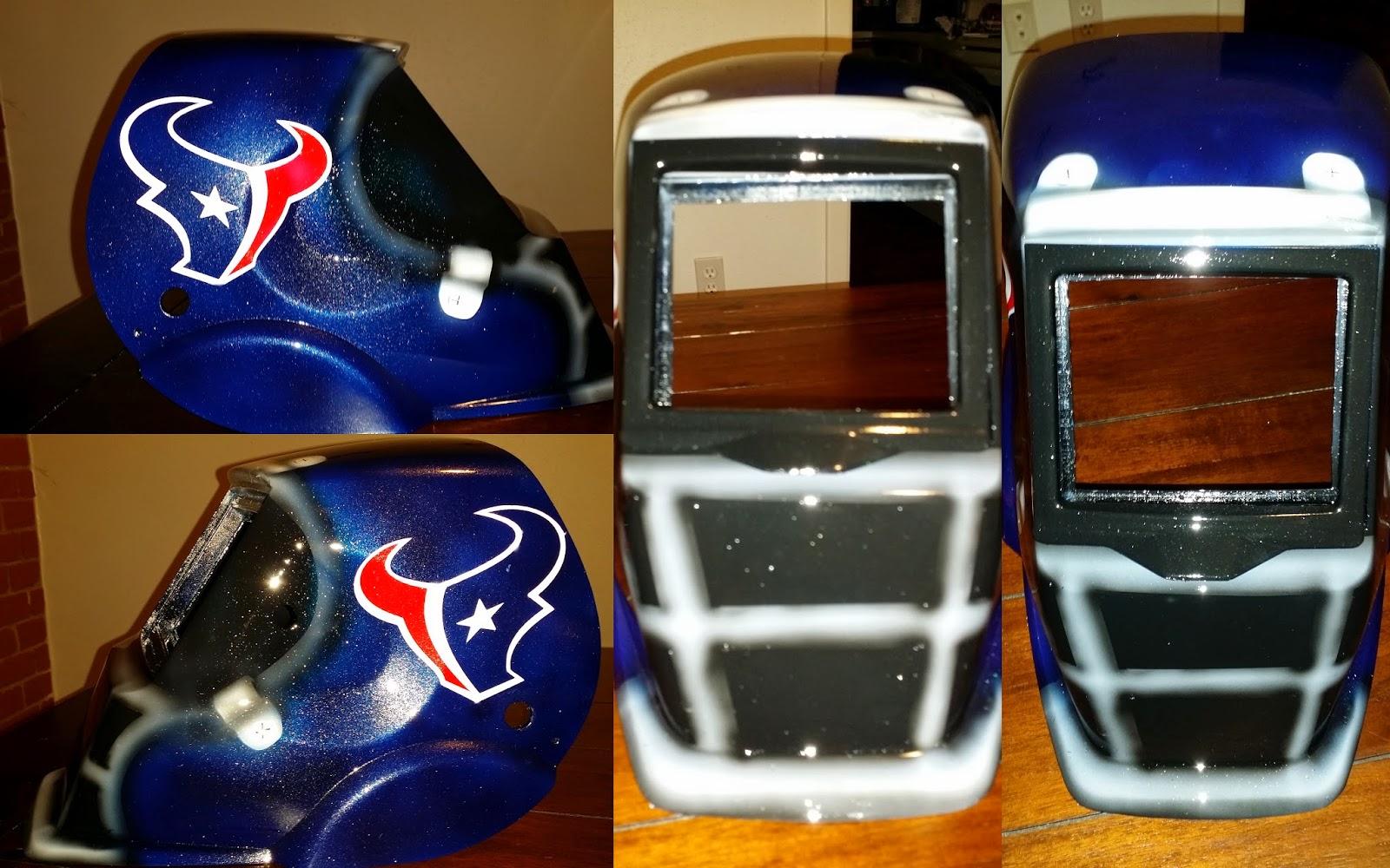 blue metal flake Houston Texans welding helmet